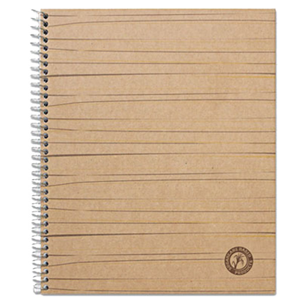 """Universal UNV66208 11"""" x 8 1/2"""" Natural 1 Subject Sugarcane Based College Ruled Notebook - 100 Sheets Main Image 1"""