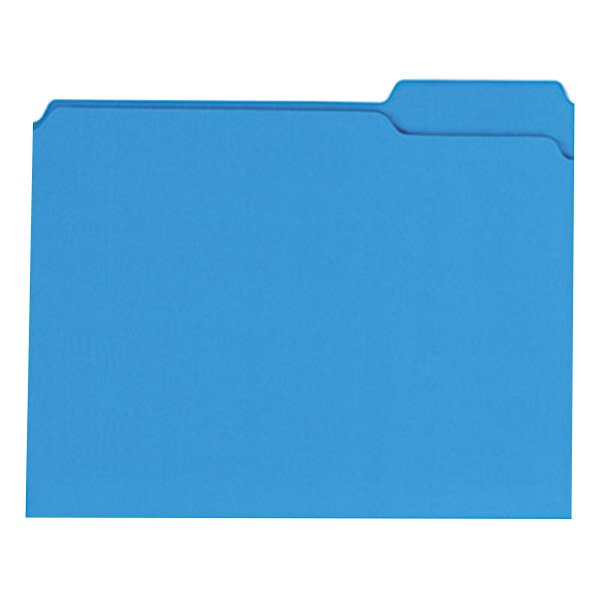 Universal UNV16161 Letter Size File Folder - Standard Height with 2-Ply 1/3 Cut Assorted Tab, Blue - 100/Box Main Image 1