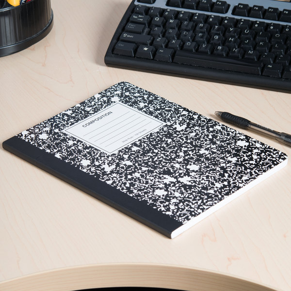 """Universal UNV20930 9 3/4"""" x 7 1/2"""" Black Wide Ruled Composition Notebook - 100 Sheets Main Image 5"""