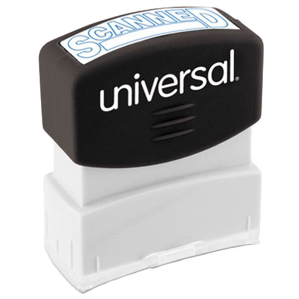 """Universal UNV10157 1 11/16"""" x 9/16"""" Blue Pre-Inked Scanned Message Stamp"""