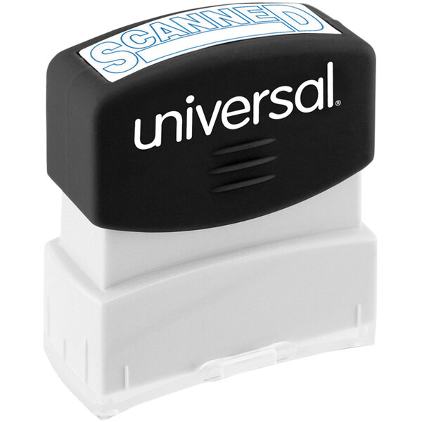 """Universal UNV10157 1 11/16"""" x 9/16"""" Blue Pre-Inked Scanned Message Stamp Main Image 1"""