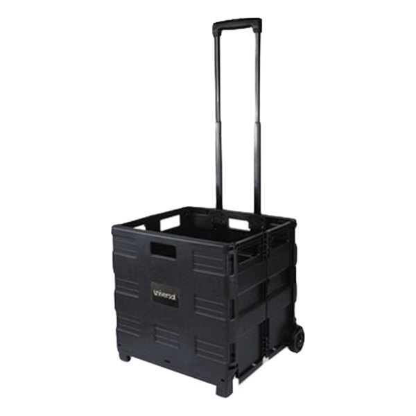 """Universal UNV14110 18 1/4"""" x 15"""" Black Collapsible Mobile Storage Crate"""