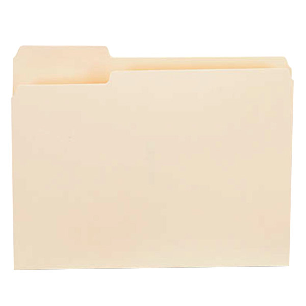 Universal UNV12121 Letter Size File Folder - Standard Height with 1/3 Cut Left Tab, Manila - 100/Box Main Image 1