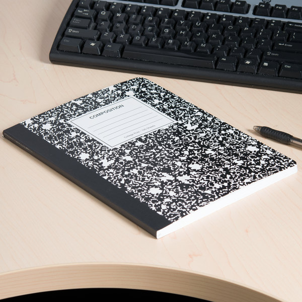 """Universal UNV20940 9 3/4"""" x 7 1/2"""" Black College Ruled Composition Notebook - 100 Sheets"""