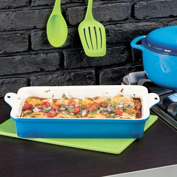 "Lodge STW13RCT33 9"" x 13"" Blue Stoneware Baking Dish"