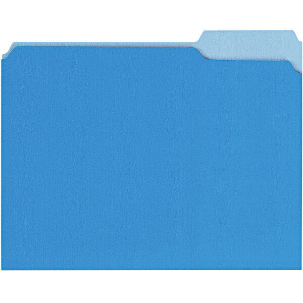 Universal UNV12301 Letter Size File Folder - Interior Height with 1/3 Cut Assorted Tab, Blue - 100/Box Main Image 1