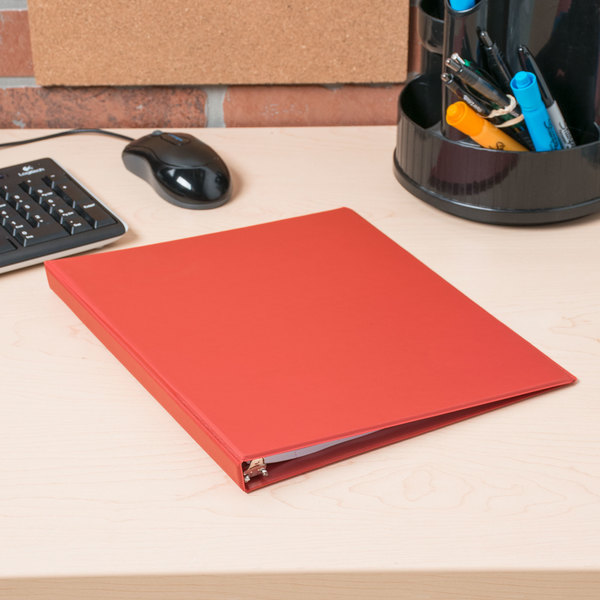 "Universal UNV30403 Red Economy Non-Stick Non-View Binder with 1/2"" Round Rings Main Image 10"