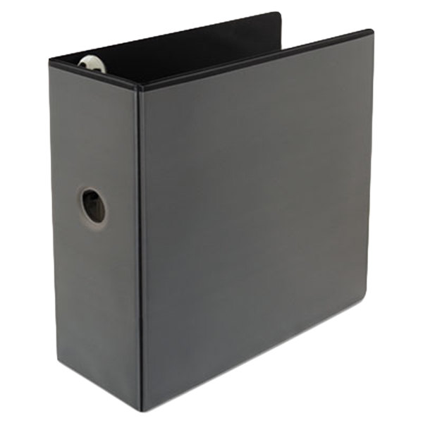 "Universal UNV30755 Comfort Grip Deluxe Plus Black Eco-Friendly Binder with 5"" Slant Rings Main Image 1"