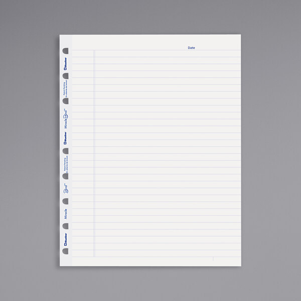 """Blueline AFR9050R 9 1/4"""" x 7 1/4"""" White Pack of MiracleBind College Ruled Paper Refill Sheet - 50 Sheets Main Image 1"""