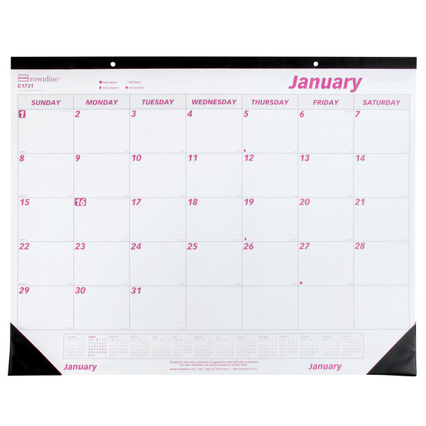 "Rediform C1731 Brownline 22"" x 17"" White / Burgundy Monthly January 2021 - December 2021 Desk Pad Calendar Main Image 1"