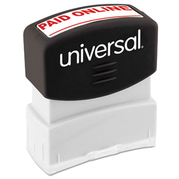 "Universal UNV10156 1 11/16"" x 9/16"" Red Pre-Inked Paid Online Message Stamp"