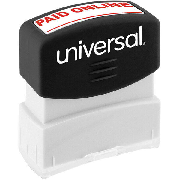 """Universal UNV10156 1 11/16"""" x 9/16"""" Red Pre-Inked Paid Online Message Stamp Main Image 1"""