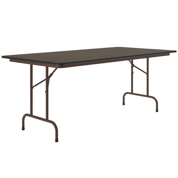 "Correll Folding Table, 36"" x 72"" Melamine Top, Walnut - CF3672M Main Image 1"