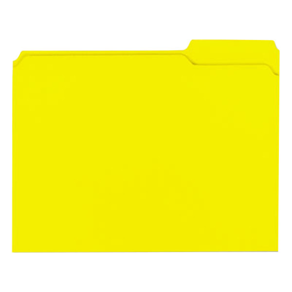 Universal UNV16164 Letter Size File Folder - Standard Height with 2-Ply 1/3 Cut Assorted Tab, Yellow - 100/Box Main Image 1