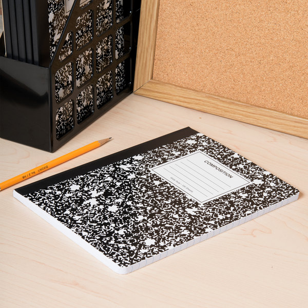 composition notebook unv20936 9 34 x 7 12 black wide ruled composition notebook