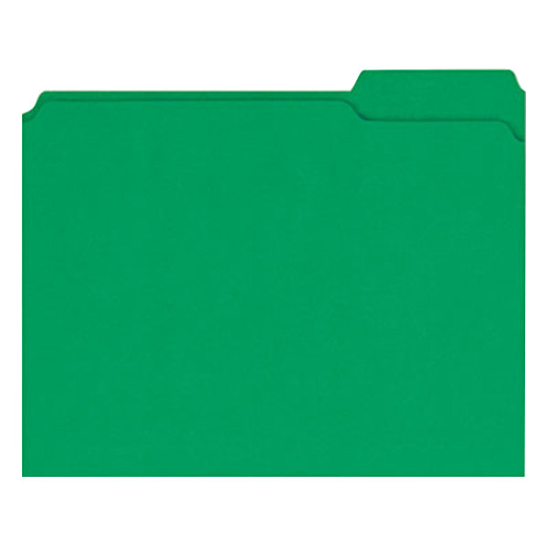 Universal UNV16162 Letter Size File Folder - Standard Height with 2-Ply 1/3 Cut Assorted Tab, Green - 100/Box