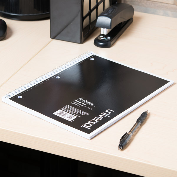 """Universal UNV66610 10 1/2"""" x 8"""" Black 1 Subject College Ruled Wirebound Notebook - 70 Sheets Main Image 6"""