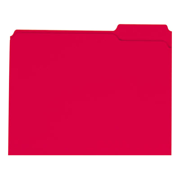 Universal UNV16163 Letter Size File Folder - Standard Height with 2-Ply 1/3 Cut Assorted Tab, Red - 100/Box Main Image 1