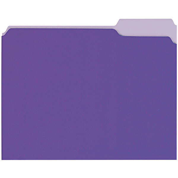 Universal UNV10505 Letter Size File Folder - Standard Height with 1/3 Cut Assorted Tab, Violet - 100/Box Main Image 1