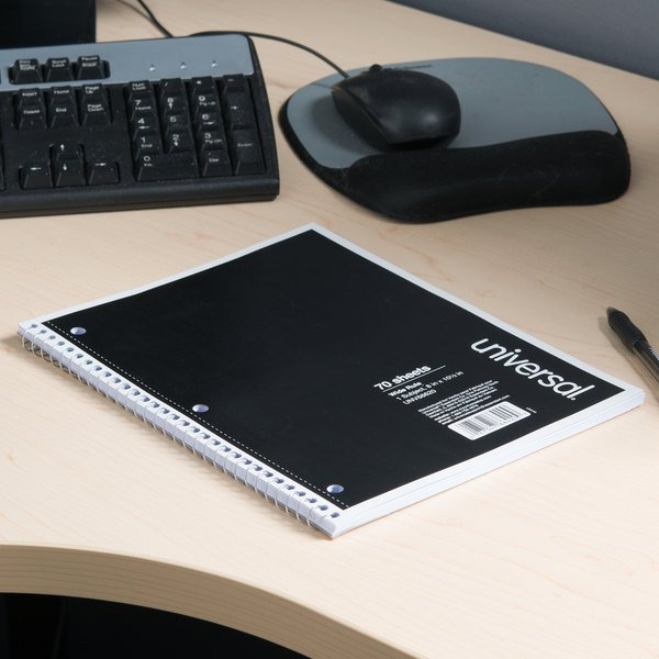 "Universal UNV66620 10 1/2"" x 8"" Black 1 Subject Wide Ruled Wirebound Notebook - 70 Sheets"