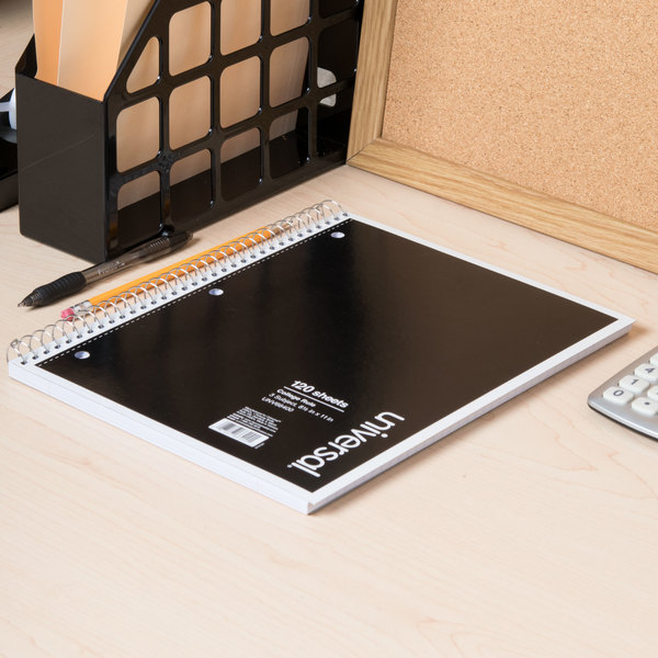 """Universal UNV66400 11"""" x 8 1/2"""" Black 3 Subject College Ruled Wirebound Notebook - 120 Sheets Main Image 6"""