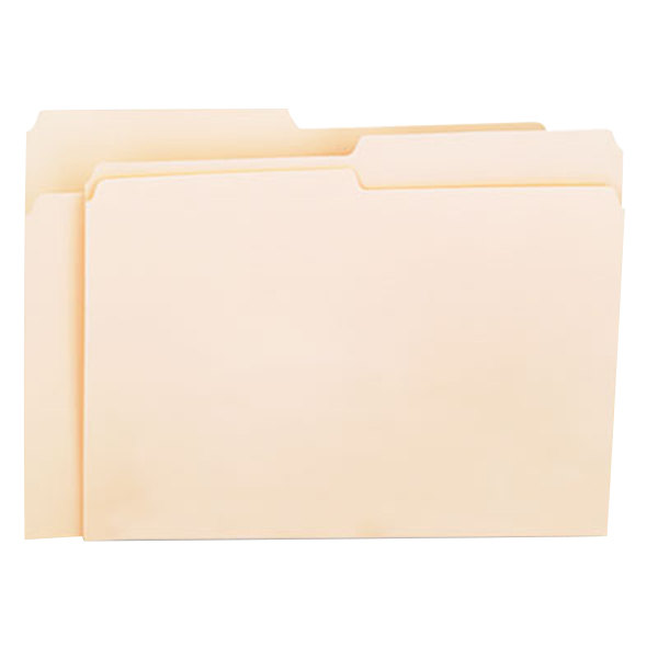 Universal UNV12112 Letter Size File Folder - Standard Height with 1/2 Cut Assorted Tab, Manila - 100/Box Main Image 1