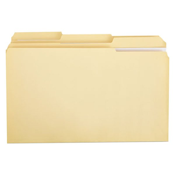 Universal UNV16123 Legal Size File Folder - Standard Height with 2-Ply 1/3 Cut Assorted Tab, Manila - 100/Box