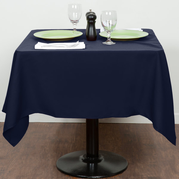 """54"""" x 54"""" Navy Blue 100% Polyester Hemmed Cloth Table Cover"""