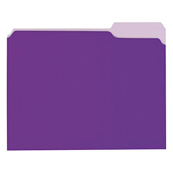 Universal UNV12305 Letter Size File Folder - Interior Height with 1/3 Cut Assorted Tab, Violet - 100/Box