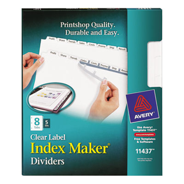 Avery 11437 Index Maker 8-Tab White Divider Set with Clear Label Strip - 5/Pack