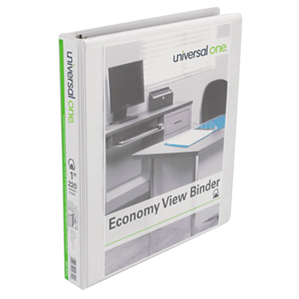 """Universal UNV20742PK White Economy View Binder with 1"""" Slant Rings - 4/Pack Main Image 1"""