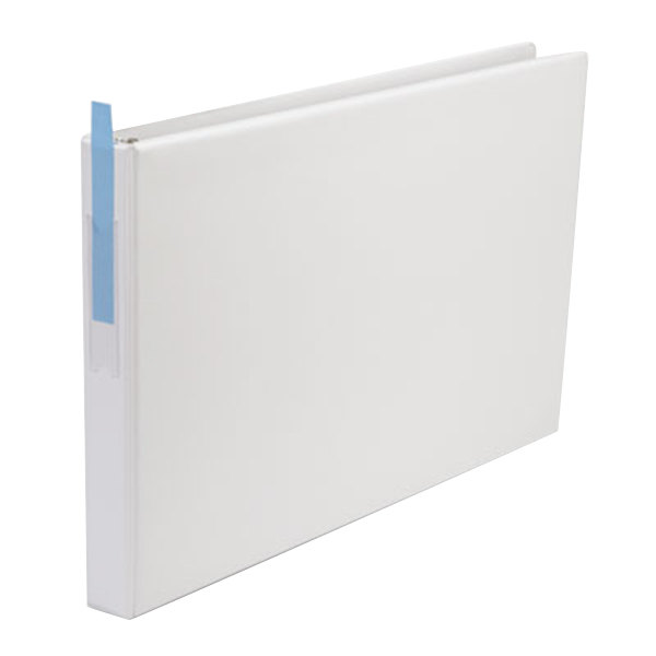 """Universal UNV35420 11"""" x 17"""" White Non-Stick Non-View Binder with 1"""" Round Rings and Spine Label Holder, Ledger"""