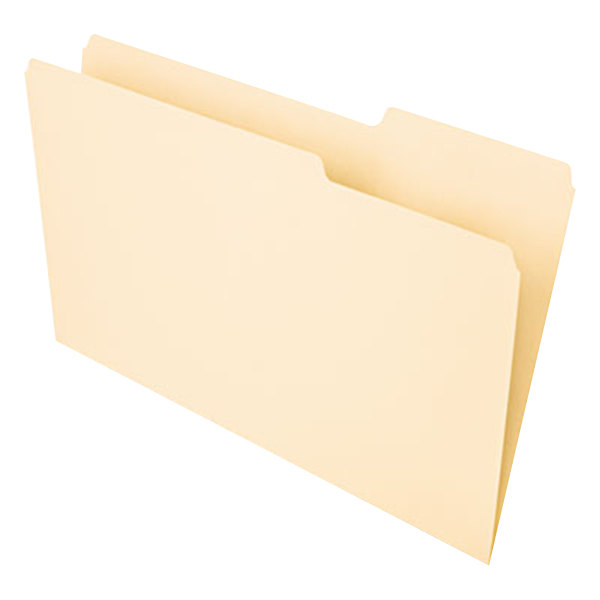 Universal UNV15213 Legal Size File Folder - Interior Height with 1/3 Cut Assorted Tab, Manila - 100/Box Main Image 1
