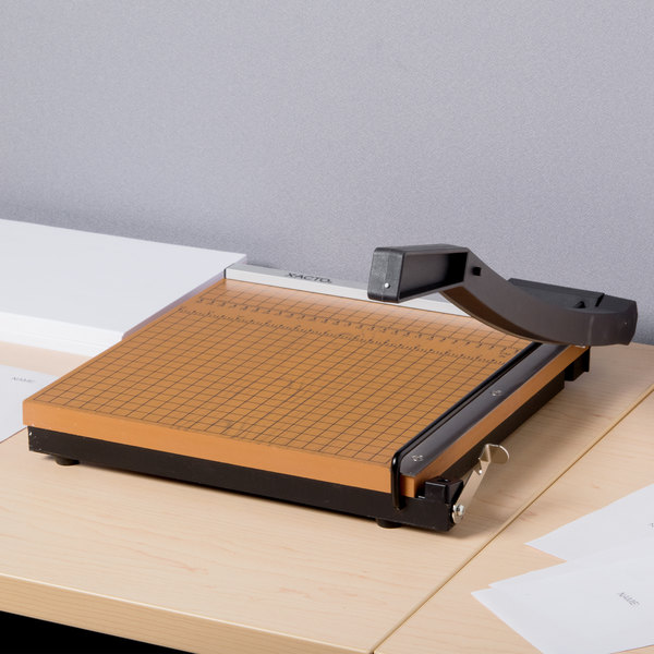 """X-Acto 26612MR 12"""" Square 10 Sheet Commercial Guillotine Paper Trimmer with Wood Base"""