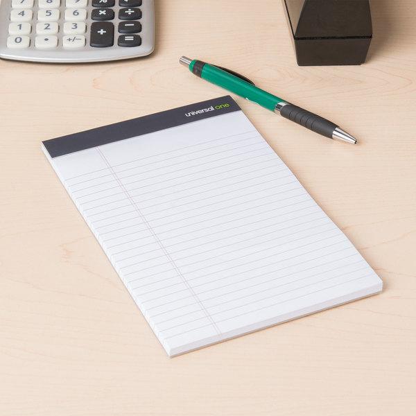 "Universal UNV57300 5"" x 8"" Legal Rule White Premium Writing Pad - 12/Pack Main Image 9"