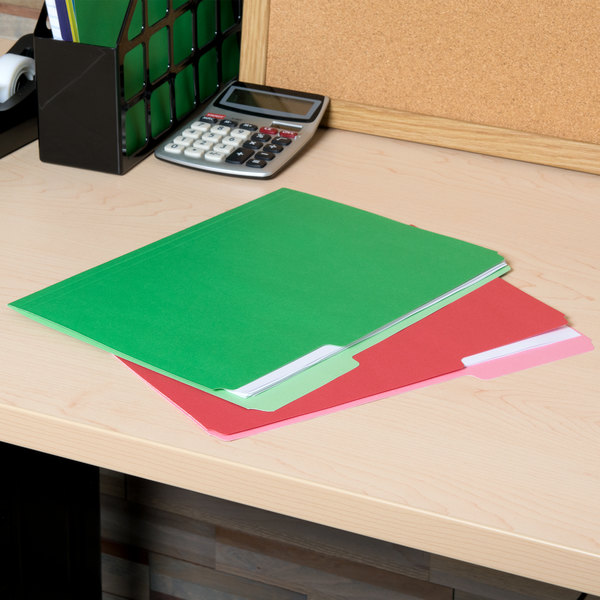 Universal UNV10506 Letter Size File Folder - Standard Height with 1/3 Cut Assorted Tab, Assorted Color - 100/Box