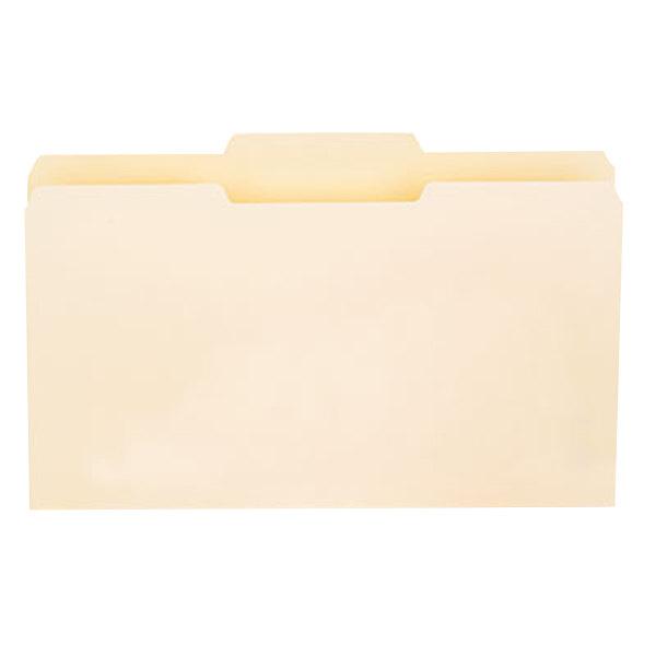 Universal UNV15122 Legal Size File Folder - Standard Height with 1/3 Cut Center Tab, Manila - 100/Box Main Image 1