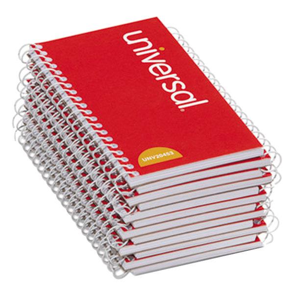"Universal UNV20453 5"" x 3"" Orange Side Wirebound Narrow Ruled Memo Book - 12/Pack"