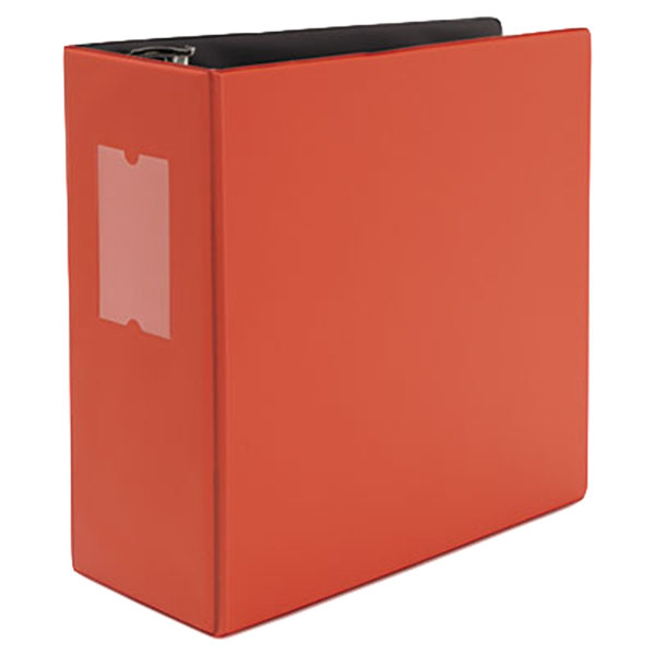 """Universal UNV20716 Red Non-View Binder with 5"""" Slant Rings and Spine Label Holder"""