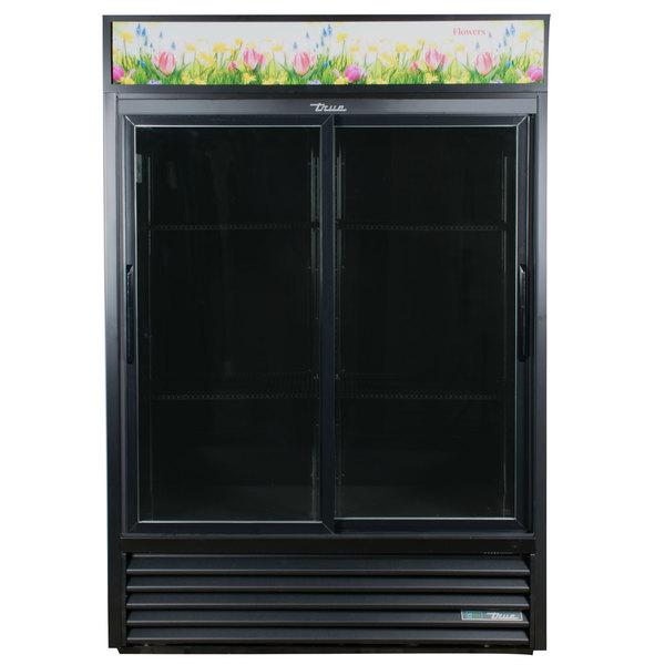 True GDM-47FC-HC-LD 54 inch Black Glass Sliding Door Refrigerated Floral Case