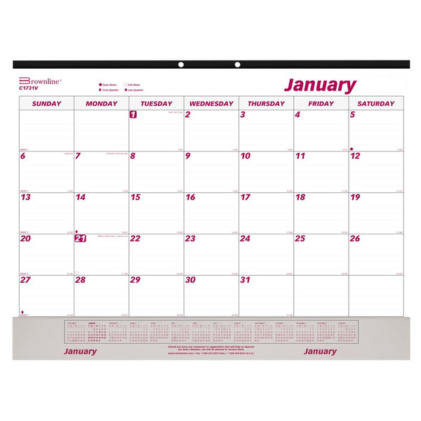 "Rediform C1731V Brownline 22"" x 17"" White / Burgundy Monthly January 2021 - December 2021 Desk Pad Calendar with Vinyl Strip Main Image 1"