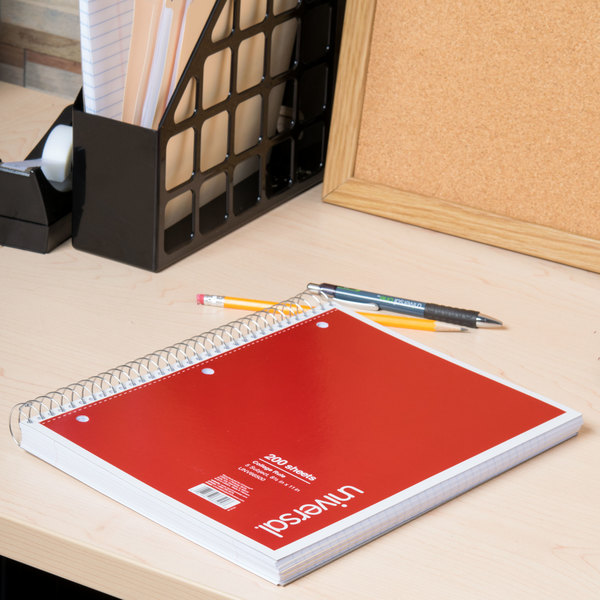 """Universal UNV66500 11"""" x 8 1/2"""" 5 Subject College Ruled Wirebound Notebook - 200 Sheets"""