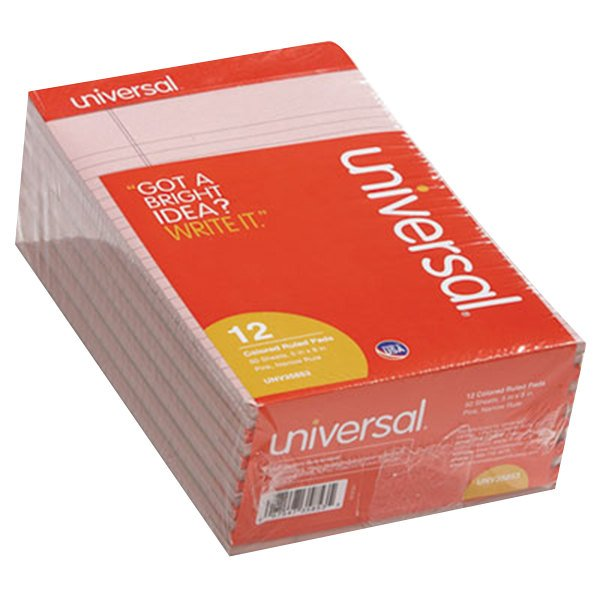 """Universal UNV35853 5"""" x 8"""" Narrow Rule Pink Perforated Note Pad - 12/Pack"""