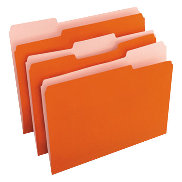 Universal UNV10507 Letter Size File Folder - Standard Height with 1/3 Cut Assorted Tab, Orange - 100/Box