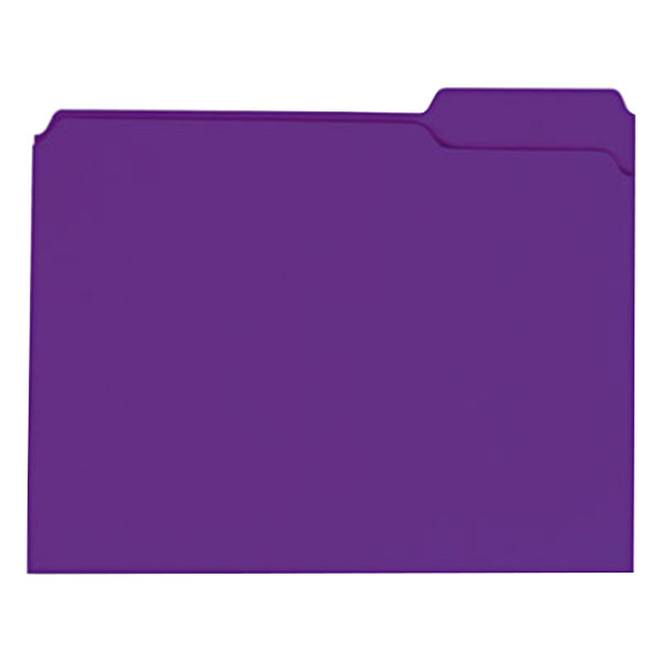 Universal UNV16165 Letter Size File Folder - Standard Height with 2-Ply 1/3 Cut Assorted Tab, Violet - 100/Box