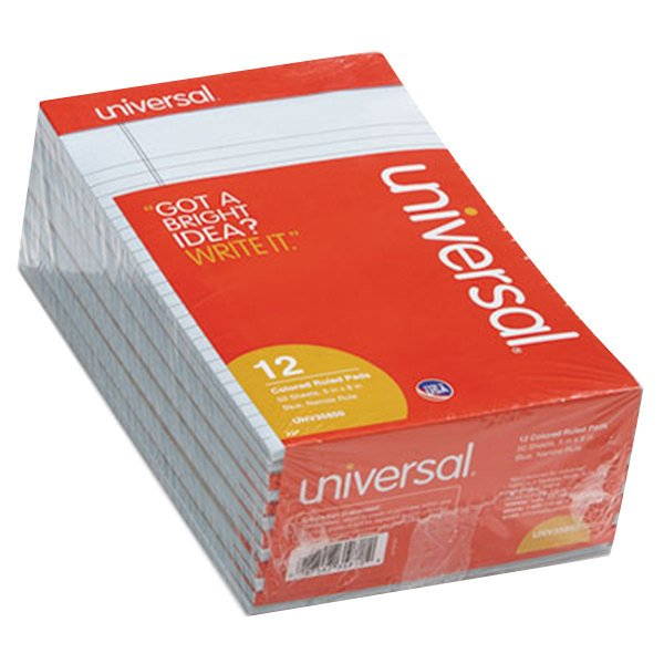 """Universal UNV35850 5"""" x 8"""" Narrow Rule Blue Perforated Note Pad - 12/Pack"""