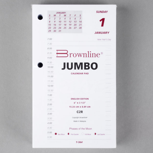 "Brownline C2R 6"" x 3 1/2"" Daily January 2021 - December 2021 Calendar Pad Refill Main Image 1"