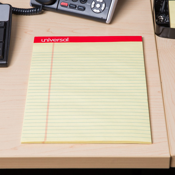 Universal UNV10630 Legal Ruled Canary Perforated Edge Writing Pad, Letter - 12/Pack Main Image 6