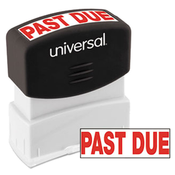 "Universal UNV10063 1 11/16"" x 9/16"" Red Pre-Inked Past Due Message Stamp Main Image 1"