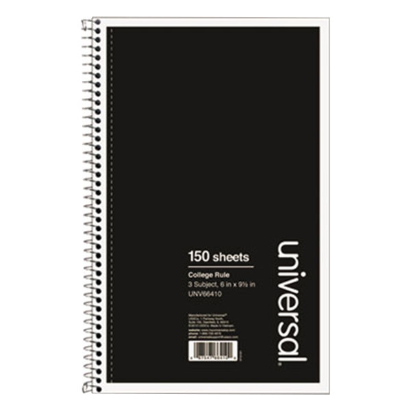 "Universal UNV66410 9 1/2"" x 6"" Black 3 Subject College Ruled Wirebound Notebook - 120 Sheets"